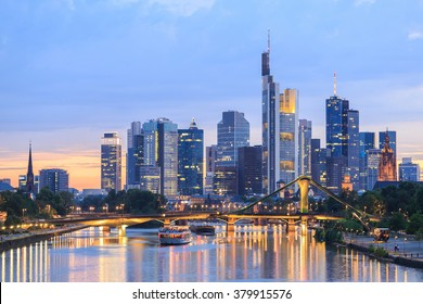 View of Frankfurt am Main skyline at dusk, Germany