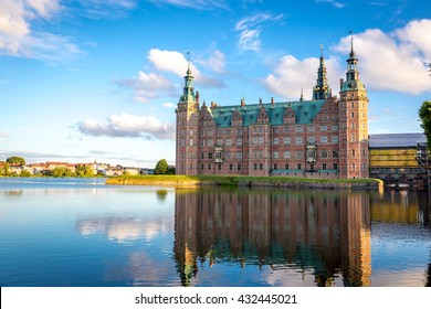 View of Frederiksborg castle in Hillerod, Denmark