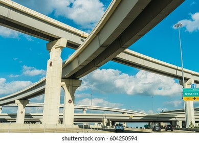 A view of freeway system in Houston TX, USA at i10 Katy freeway and Gessner Rd