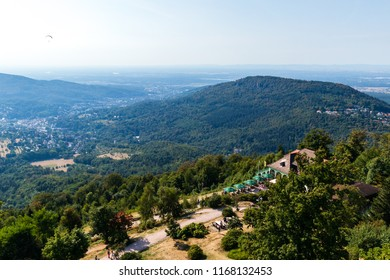 View from the Fremersberg tower of the Merkurstüble restaurant located on the top of MerkurBergbahn. The main attraction of the city of Baden-Baden in Germany.
