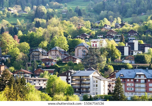 View of french alps mountain  and Saint-Gervais-les-Bains village, in spring