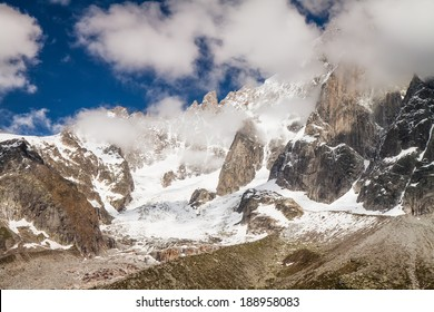 View to French Alps Valley under Mt. Blanc