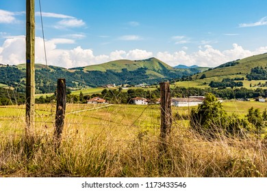 View of the French countryside in the region of the Atlantic Pyrenees. France
