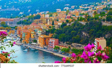 View of French Riviera near town of Villefranche-sur-Mer, Menton, Monaco (Monte Carlo), Cote d'Azur, French Riviera, France