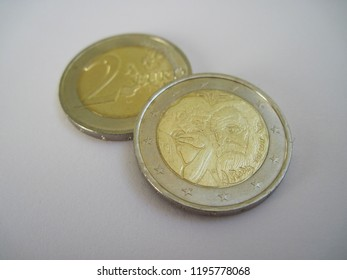 View of French two euro coin. France 2 euro – Centenary of Auguste Rodin. Great for numismatic collection.