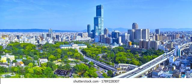 A view of the fresh green surroundings of Tennoji Station in Osaka (panorama)