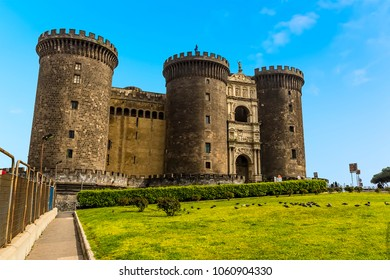 A view of the front of the Castel Nuovo in Naples, Italy