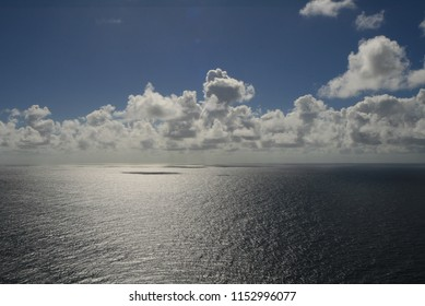 View from the front of a Cruise Ship over the endless ocean the caribean sea