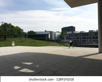 View in front of the library of University of Essex (Colchester Campus), Colchester, UK. The picture was taken in May 2016.