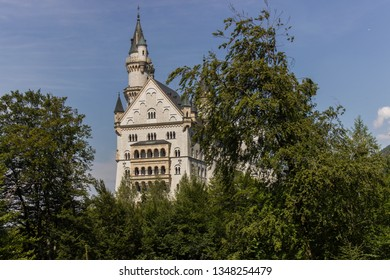 View of the front part of the Neuschwanstein castle, Bayern, Germany