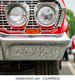A view from the front of a sixties classic American car.
