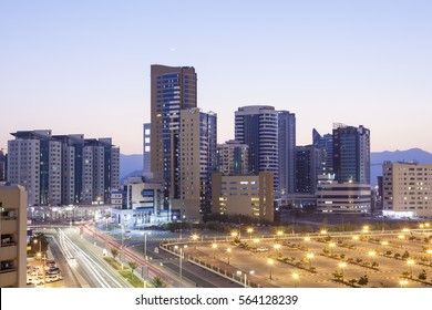 View of Fujairah City at dusk. United Arab Emirates, Middle East