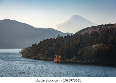 View of Fuji mountain and Ashi lake and Red torii gate taken from Art Museum in Hakone
