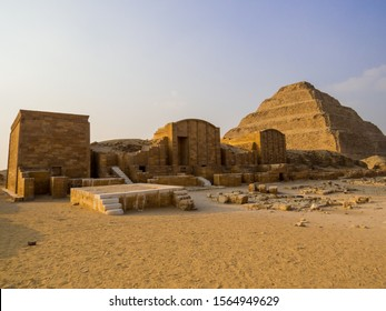 View of the Funerary Complex and the Pyramid of Djoser (commonly known as the Step Pyramid) in Saqqara, south of Cairo, Egypt