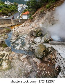 View of Furnas hot springs. A little village in the Azores, San Miguel (Sao Miguel) island.