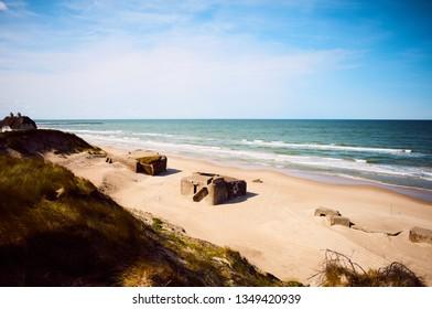 View of Furreby Kystbatteri, WWII (World War II) bunkers located on beach near Løkken bathing town in North Jutland, Denmark