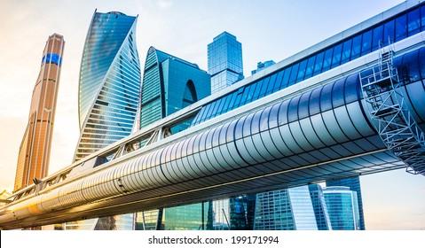 View of futuristic skyscrapers in business center
