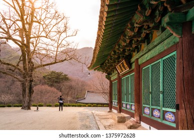 View of the Gagyeonsa temple, Goesan, South Korea. This building was built in the Silla period(514-539). The writing on the front of the building is 'Birojeon Hall'.