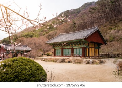 View of the Gagyeonsa temple, Goesan, South Korea. This temple was built in the Silla period(514-539). The writing on the front of the building is 'Daeungjeon Hall'.