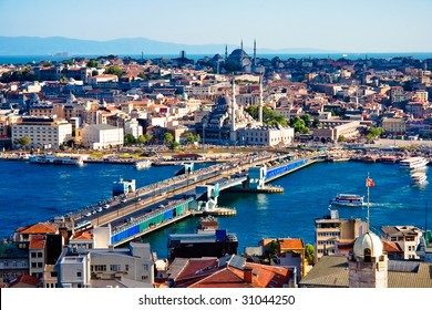View from Galata tower to Golden Horn, Istanbul, Turkey