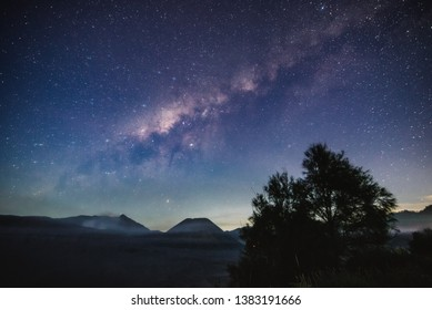 view of the galaxy and mountains