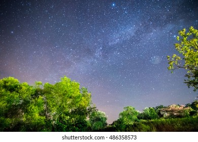 A View of the Galaxy at Night in the Countryside