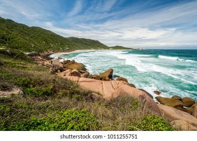 View to Galheta Beach in Florianopolis, Santa Catarina Island, South Brazil