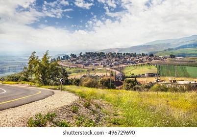 View from Galilee Mountains near Galilee Sea, Kinneret, Israel.