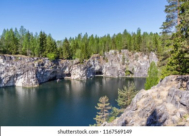 View of the galleries in the great careers of Ruskeala Park, Karelia, Russia