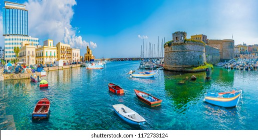 View of Gallipoli town and harbour, Puglia Region, South Italy