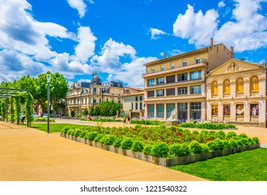 View of the Gambetta square in Carcassonne, France