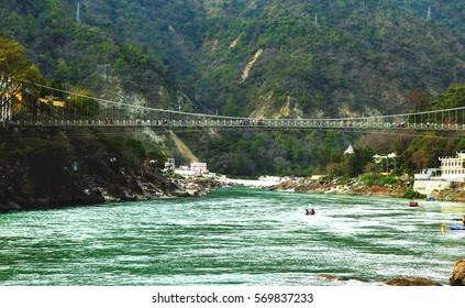 View to Ganga river and lakshman jhula bridge, Rishikesh, India