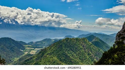 View Garda Lake from Passo Tremalzo,Trails to Passo Tremalzo, Lago di Garda region, Italy, Italian Dolomites-panoramic views from the Tremalzo