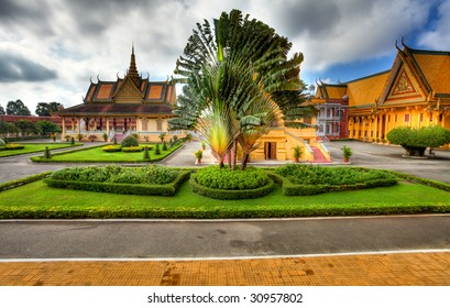 view to Garden and Royal Palace in Phnom Penh - Cambodia (HDR)