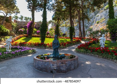 View of the Gardens of Augustus (Giardini di Augusto) on Capri Island, Campania, Italy.