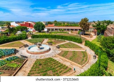 A view of gardens in Silves old town, Algarve region, Portugal