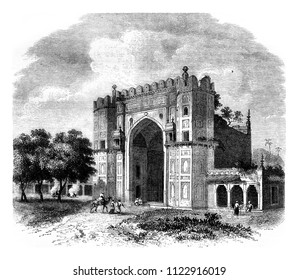 View in the gardens of Sultan Khosrou, in Allahabad, vintage engraved illustration. Magasin Pittoresque 1858.