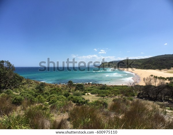 View of Garie Beach in New South Wales, Australia.