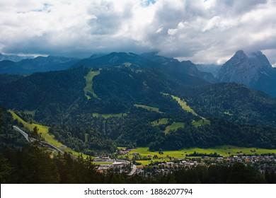 View of Garmisch-Partenkirchen, the ski jump and the mountains.