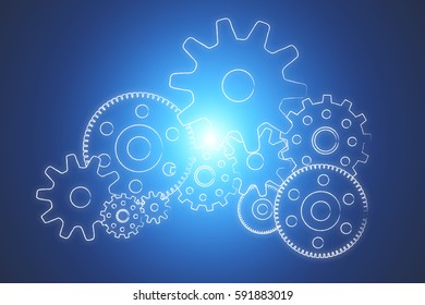 View of Gear wheel concept isolated on background - Technology concept
