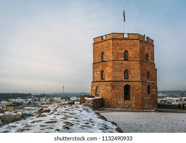 View to the Gediminas' Tower - the remaining part of the Upper Castle in Vilnius, Lithuania in frosty winter day. The tower is a symbol of Vilnius and of Lithuania.