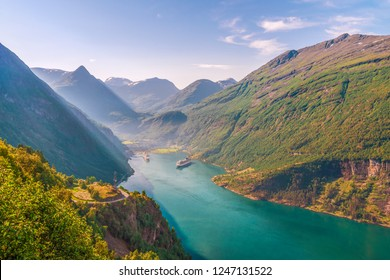 View of the Geiranger Fjord and the Geiranger village from the Eagle road viewpoint. Norway