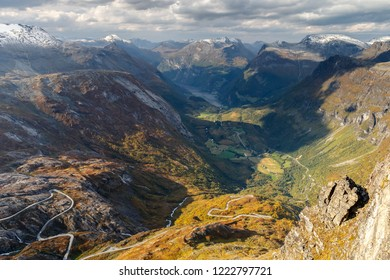 View from at Geiranger Skywalk Dalsnibba Geiranger Norway, 1500meters above sea level, great view.