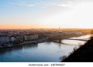 View from Gellert Hill over Liberty bridge in Budapest