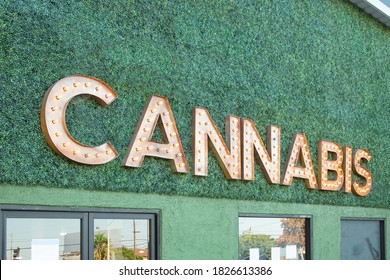 A view of a general cannabis sign on the front of a building.