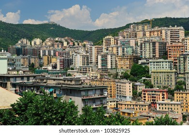 View of Genova with Buildings in the mountain