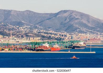 View of Genova harbor. Italy