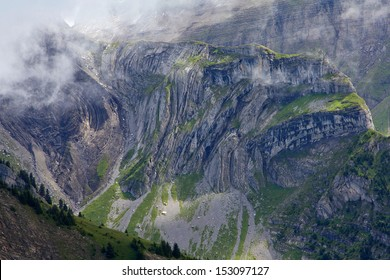 View of geological layers, all twisted, turned and folded. Mountain range at Schynige Platte, Wilderswil, Switzerland, at a height of 2,076 m (6,811 ft).