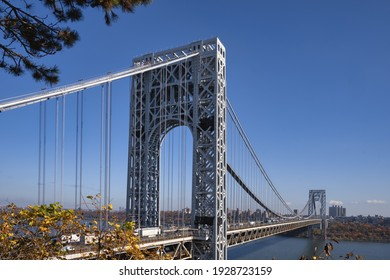 A view of the George Washington Bridge from Fort Lee Historic Park in Fort Lee, New Jersey