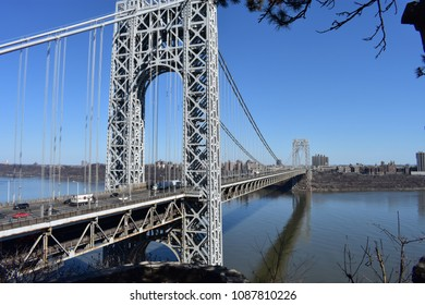 View of the George Washington Bridge taken from Fort Lee Historic Park.